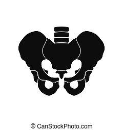 Menschliches Becken, schwarze Ikone.