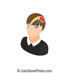 Menschliches Bewusstseinsgeschwindigkeits-Icon, isometrische 3D-Stil.