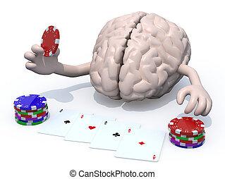 Menschliches Gehirn mit Armen und Beinen spielen Poker.