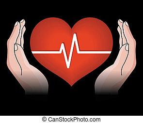 Menschliches Herz in Händen