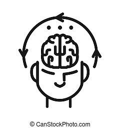 Mentale Konzentration Illustration Design.