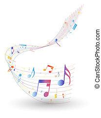 merkzettel, mehrfarbig, musikalischer personal