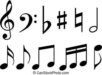 merkzettel, musik- symbole