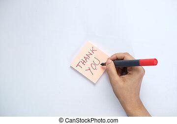 merkzettel, sie, hand, frauen, danken, schreibende