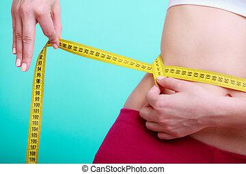 messen, frau, sie, anfall, fitness, band, diet., messen, m�dchen, taille