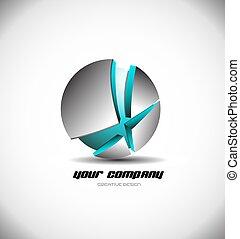 Metallische blaue 3D Kugel zerbrochene Logo-Icon.