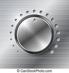 Metallische Lautstärke rotierender Knopf.