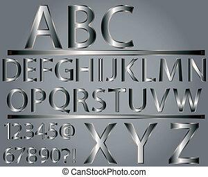 Metallisches Stil Alphabet