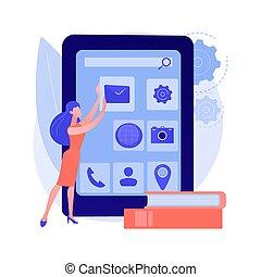 metapher, begriff, kurse, entwicklung, app, vektor, beweglich