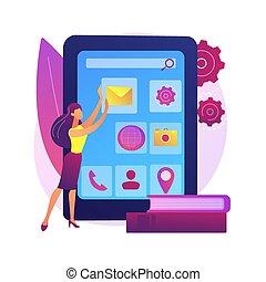 metapher, beweglich, begriff, kurse, entwicklung, vektor, app