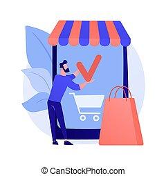metaphor., begriff, app, vektor, shoppen, beweglich