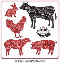 metzger, huhn, chicken., plakat, schweinefleisch, lebensmittel, speicher, fleisch, schnitt, metzger, tier, kuh, schafe, landwirt, lamm, market., set., bauernhof, silhouette., rindfleisch, laden, schwein