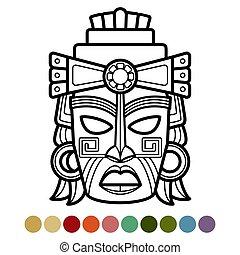 Mexikaner, Afrikaner, Azteken-Masken-Farbseiten