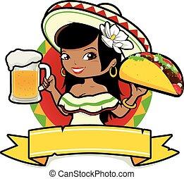 Mexikanerin mit Bier und Taco.
