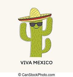 Mexikanisch-grüner Cartoon Kaktus in Sombrero Hut