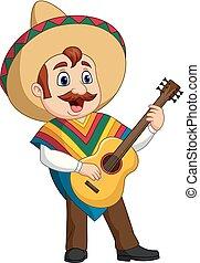 mexikanisch, spielende gitarre, singende, karikatur, mann