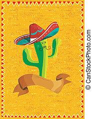 Mexikanische Lebensmittel-Kaktus über Grunge-Hintergrund