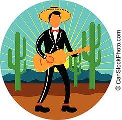 Mexikanische Mariachi im Wüstenkreis Retro.