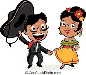 Mexikanischer Mariachi Mann und Frau. Vector Illustration