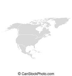 mexiko, amerikanische ikone, nord, landkarte, map., amerika, vektor, usa, welt, kontinent, kanada