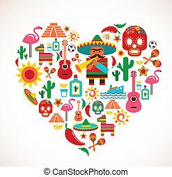 Mexiko-Liebe - Herz mit Vektor-Ikonen