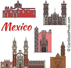 Mexiko Wahrzeichen Vektorarchitektur Linien Icons