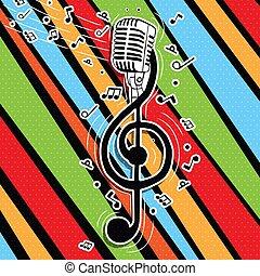 mikrophon, bunte, musik, s�nger, schlüssel