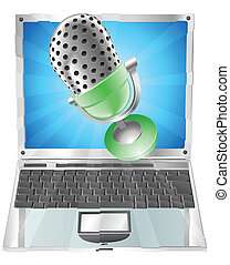 Mikrophon fliegt aus dem Laptop-Screen-Konzept