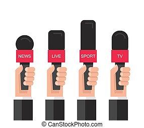 mikrophone, halten hände, satz