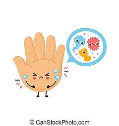 mikroskopisch, bacterias, traurige , reizend, menschliche hand