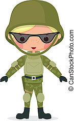 Militärischer Cartoon-Junge
