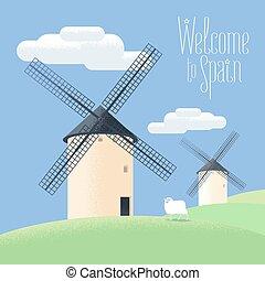 Mills in Spain-Vektorgrafik. Landschaft des ländlichen Raums