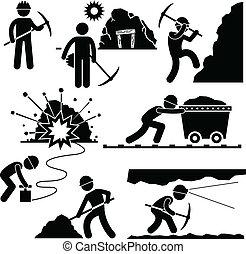 Minenarbeiter arbeiten Menschen.