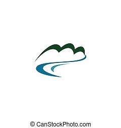 mineral, vektor, fluß, fruehjahr, logo, süßwasser, ikone, berg