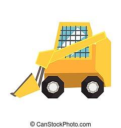 Mini Bulldozer mit geschützten Fenstern, Skidloader Vektor Illustration.