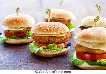 mini, hölzern, burger, appetitanregend, huhn, surface.