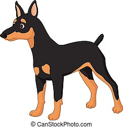 miniatur, karikatur, pincher, hund