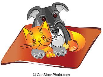 Miniatur Schnauzer-Hund und britisches Kätzchen liegen auf dem Teppich in Übereinstimmung, Zeichnung, Vektorgrafik.
