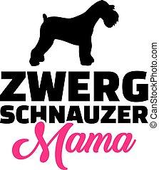 Miniatur-Schnauzer Mutter Silhouette Deutsch.