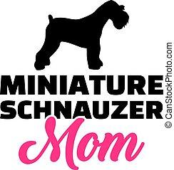 Miniatur-Schnauzer Mutter Silhouette.