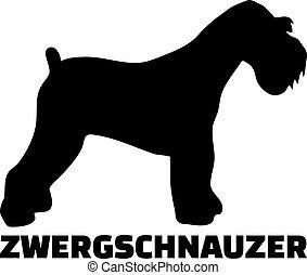 Miniatur Schnauzer Silhouette echtes Wort Deutsch.