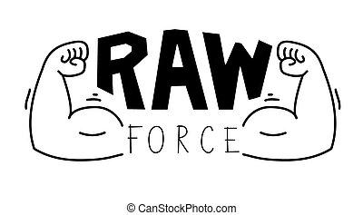 Minimalistischer Fitnessraum, Fitnesslogo. Raw Force.Vector Illustration