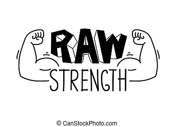 Minimalistischer Fitnessraum, Fitnesslogo. Raw Stärke.Vector Illustration