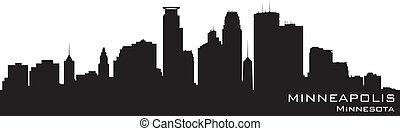 Minneapolis, Minnesota Skyline. Detailierte Vektorsilhouette