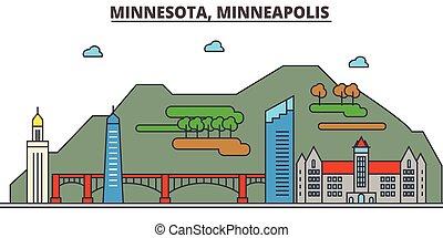 Minnesota, Minneapolis.Stadt Skyline: Architektur, Gebäude, Straßen, Silhouette, Landschaft, Panorama, Wahrzeichen, Ikonen. Bearbeitende Striche. Flat Designlinie Vektorgrafik Konzept.