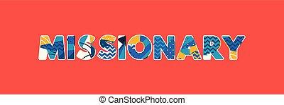 Missionares Begriffswort Kunst Illustration
