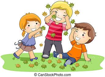 Mit Blättern spielen.