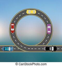 Mit dem Auto an der Küste. Abstract Highway, die Straße in einer Landschaft. Transport Illustration