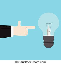 Mit dem Finger auf die neue Idee zeigen