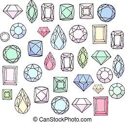 Mit Diamanten, Edelsteinen, Schmuck. Stylisierte Objekte, isoliert auf weiß